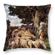 A Shepherdess With Her Flock Near A Stream Throw Pillow
