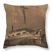 A Ship In Choppy Seas Throw Pillow by Victor Hugo