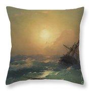 A Ship In Distress Throw Pillow