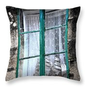 A Ship In The Green Window Throw Pillow