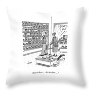 A Shoe Salesman Browses The Selection Of Shoes Throw Pillow