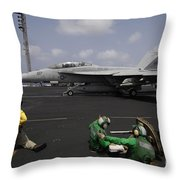 A Shooter Signals For The Launching Throw Pillow