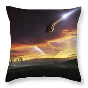 A Shuttle In The Process Of Landing Throw Pillow