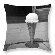 A Sidewalk Ice Cream Cone Throw Pillow