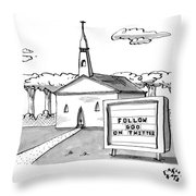 A Sign Reads Follow God On Twitter In Front Throw Pillow