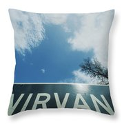 A Sign That Reads Nirvana Throw Pillow