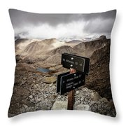 A Signed Trail Junction On The Way Throw Pillow