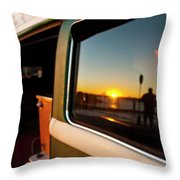 A Silhouette Of A Man Holding A Paddle Throw Pillow