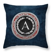A - Silver Vintage Monogram On Blue Leather Throw Pillow