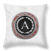 A - Silver Vintage Monogram On White Leather Throw Pillow