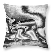 A Silvery Horny Day Throw Pillow
