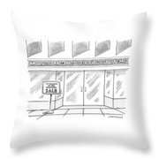 A Single Building Is Seen With A Sign Throw Pillow