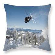 A Skier Doing A Front Flip Into Powder Throw Pillow