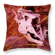 A Skull In The Rocks Throw Pillow