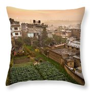 A Skyline View Of Roof Tops Throw Pillow