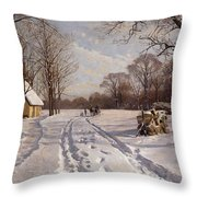A Sleigh Ride Through A Winter Landscape Throw Pillow by Peder Monsted