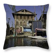 A Slightly More Run Down Section Of The Dal Lake Throw Pillow