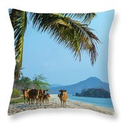 A Small Herd Of Cows Throw Pillow