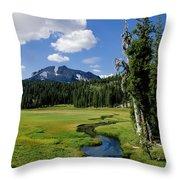 A Small River Runs Through Lassen Throw Pillow