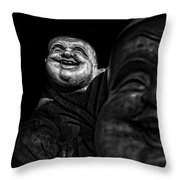 A Smile On The Shoulder - Bw Throw Pillow