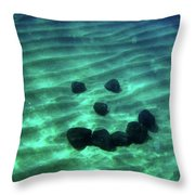 A Smiley Face Formed By Large Boulders Throw Pillow