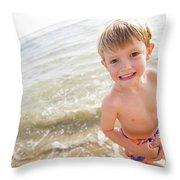 A Smiling Young Boy Enjoys A Sunny Throw Pillow