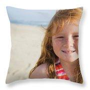 A Smiling Young Girl Enjoys A Sunny Throw Pillow