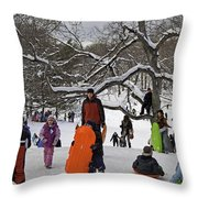 A Snow Day In The Park Throw Pillow