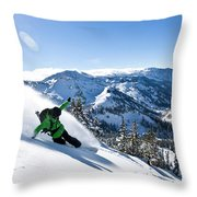 A Snowboarder Making Some Fresh Tracks Throw Pillow