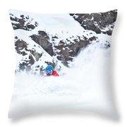 A Snowboarder Riding Through Powder Throw Pillow