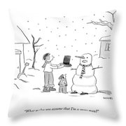 A Snowman Confronts A Mother Throw Pillow