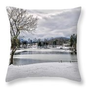A Snowy Day On Lake Chatuge Throw Pillow
