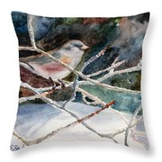 A Snowy Perch Throw Pillow