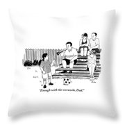 A Soccer-playing Little Girl Chastises Her Father Throw Pillow