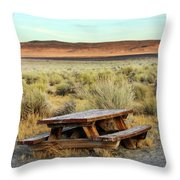 A Solitary Wooden Picnic Bench Throw Pillow
