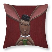A Sophisticated Bunny Throw Pillow