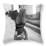California Girl Imbibes Soda Upside Down Throw Pillow