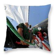 A Spanish Racing Yacht Trains Throw Pillow