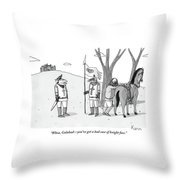 A Squire Looks At A Knight Whose Triangular Face Throw Pillow