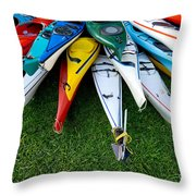 A Stack Of Kayaks Throw Pillow by Amy Cicconi
