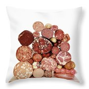 A Stack Of Sausages Throw Pillow