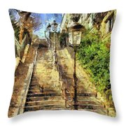 A Stairway In Montmartre Throw Pillow