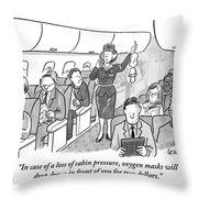 A Stewardess Is Holding Up An Oxygen Mask Throw Pillow