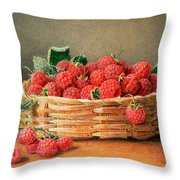 A Still Life Of Raspberries In A Wicker Basket  Throw Pillow