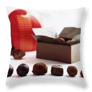 A Still Life Photo Of Gourmet Chocolates Throw Pillow