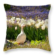 A Stone Duck Statue  Throw Pillow
