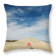A Stop Sign In The Middle Of Nowhere Throw Pillow