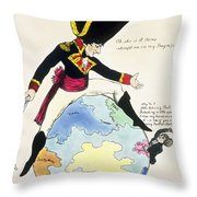A Stoppage To A Stride Over The Globe, 1803 Litho Throw Pillow