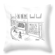 A Storefront Medical Marijuana Dispensary Throw Pillow