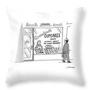 A Storefront Reads: Grandma's Cupcakes Throw Pillow